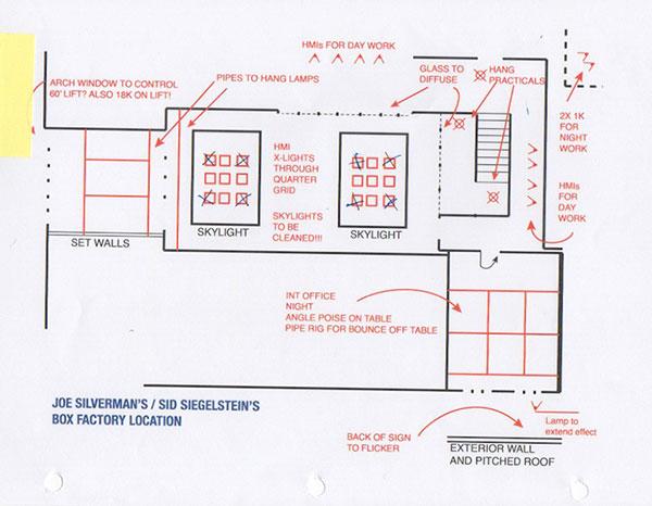 Lighting diagram for Joe Silverman's office