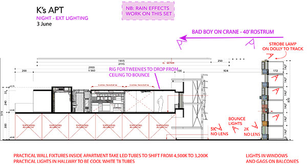 K's Apt - Night - section lighting plan