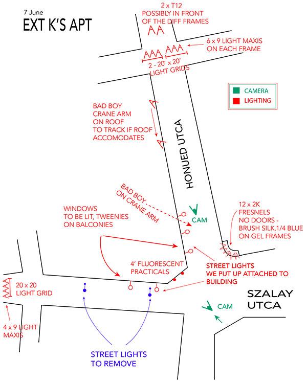 Lighting plan for ext of K's apt