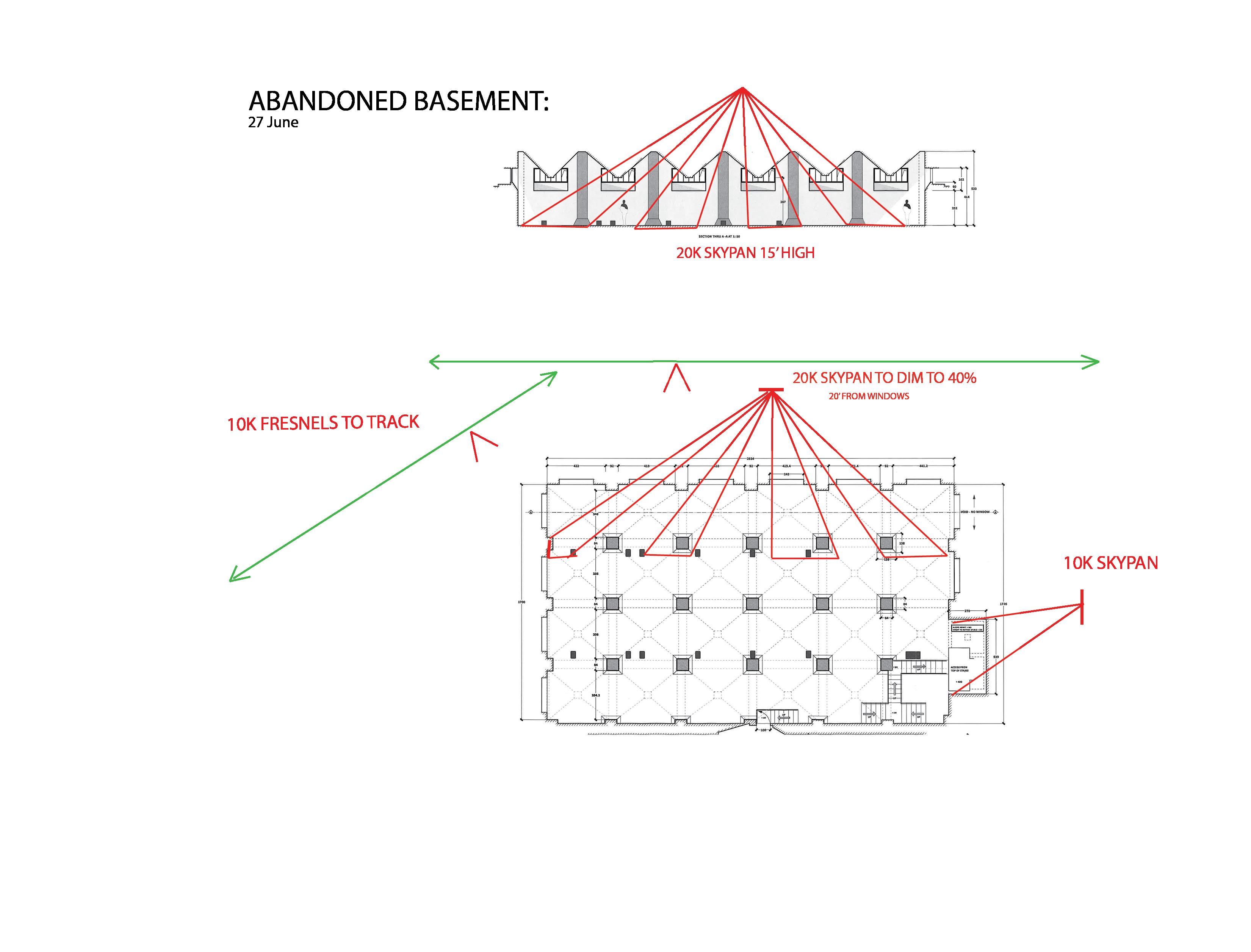 Lighting plan of Abandoned Basement